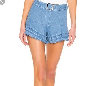 Alexis Blue Jaymes Belted Tiered Frayed Hem Shorts
